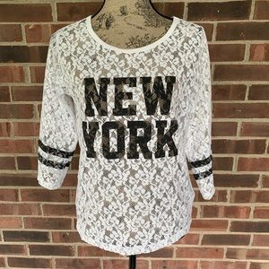 Express New York lace long sleeve top